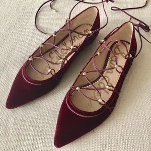 Sam Edelman Rockwell Wine Velvet Lace Up Flats